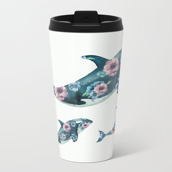 Rose Garden Whales Metal Travel Mug