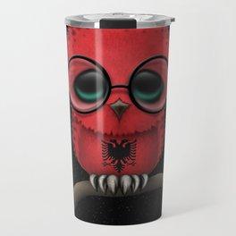 Baby Owl with Glasses and Albanian Flag Travel Mug