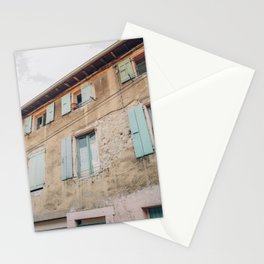 France street | colorful village | fine art photography | pink and green house Stationery Cards