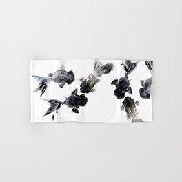 Black Moor, Feng Shui Koi Fish Art, Three Fish black fish decor Hand & Bath Towel