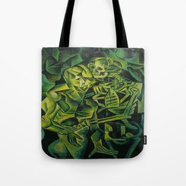 A Skeleton Embracing A Zombie Halloween Horror Tote Bag