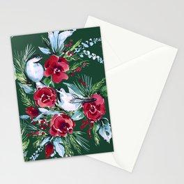 Winter Birds Dark Green Stationery Cards
