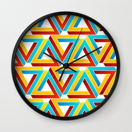 Colorful Penrose triangles- optical illusion backdrop Wall Clock