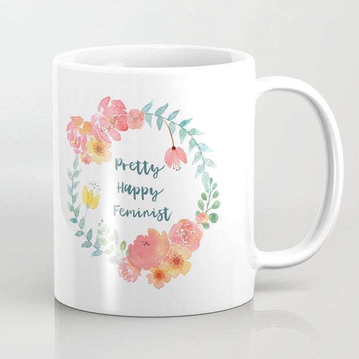 Pretty Happy Feminist Watercolor Floral Wreath Coffee Mug