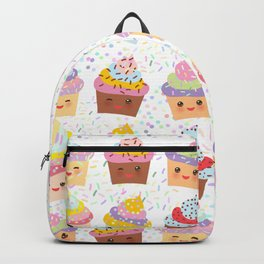 Cupcake Kawaii funny muzzle with pink cheeks and winking eyes, pastel colors Backpack