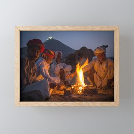 Indian camel traders sitting around the campfire at the Pushkar camel fair   India travel photography Framed Mini Art Print