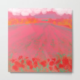 Pink Landscape with Red Flowers Metal Print