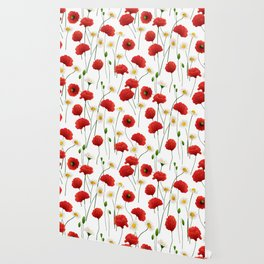 Poppies and daisies Wallpaper