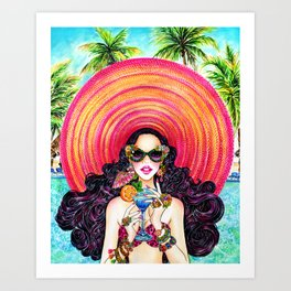 Summer Time_Straw Hat Art Print