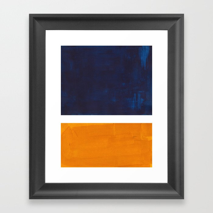 Navy Blue Yellow Ochre Abstract Minimalist Rothko Colorful Mid Century Color Block Pattern Gerahmter Kunstdruck