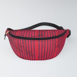Grunge Blue stripes on bold red background Fanny Pack