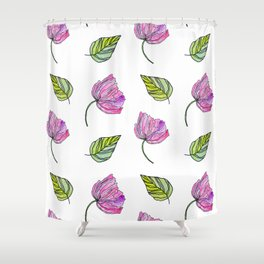 Poppy. Watercolor pink flower. Drawing flower Shower Curtain