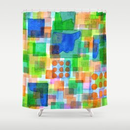 Playful Squares Shower Curtain
