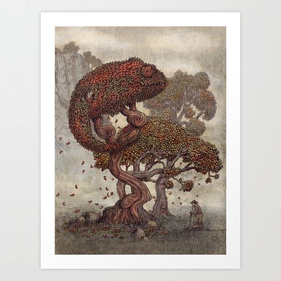 Autumn Chameleon  Art Print