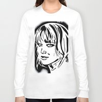 jennifer lawrence Long Sleeve T-shirts featuring Jennifer Lawrence Stencil Portrait by Lucky art