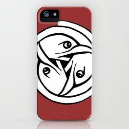 Celtic Art - Bird Head Triskele - on Red iPhone Case