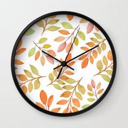 Autumn Watercolor Fall Leaves Leaf Peeper Wall Clock