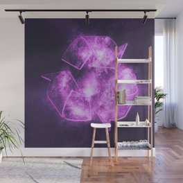 Recycle Sign. Abstract night sky background Wall Mural