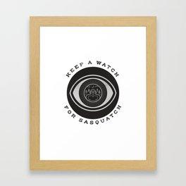Keep a watch for Sasquatch Framed Art Print