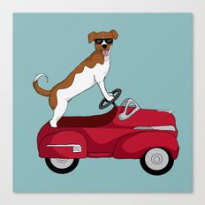 Driving Dog Canvas Print