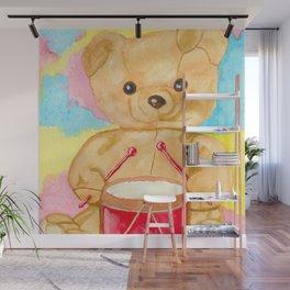 Drumming teddy bear Wall Mural
