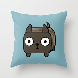 Pitbull Loaf- Brindle Pit Bull with Cropped Ears Throw Pillow