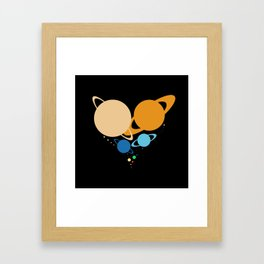 Solar System Heart (to scale) Framed Art Print