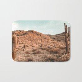 Saguaro Mountain // Vintage Desert Landscape Cactus Photography Teal Blue Sky Southwestern Style Bath Mat