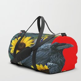 DECORATIVE RED ART SUNFLOWERS & CROW/RAVENS COVEN Duffle Bag
