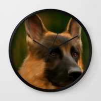 german shepherd Wall Clocks featuring German Shepherd  by Becky's Digital Art