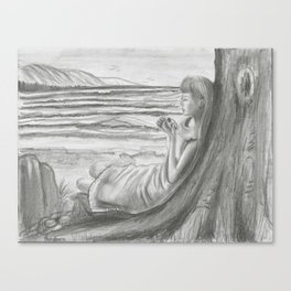 A Cool, Quieting Thought (Girl by tree on the beach) Canvas Print