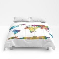 Geometric World Map Comforters