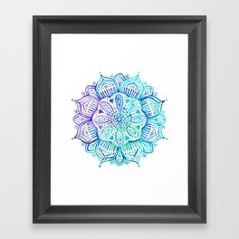 Iridescent Aqua and Purple Watercolor Mandala Framed Art Print