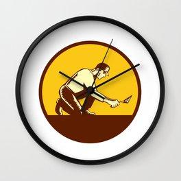 Tiler Plasterer Mason Trowel Circle Woodcut Wall Clock