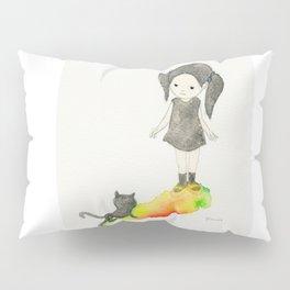 Girl and black cat Pillow Sham