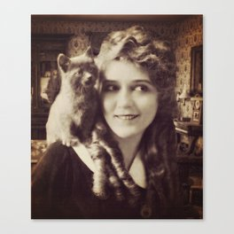 Mary Pickford - Vintage Lady with kitten Canvas Print