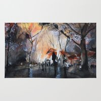 rain Area & Throw Rugs featuring Autumn rain - watercolor by Nicolas Jolly