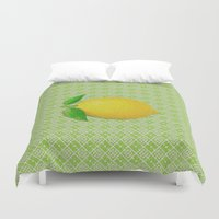 lemon Duvet Covers featuring Lemon by Mr & Mrs Quirynen