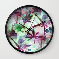 northern lights Wall Clocks featuring Northern Lights by Cannabis Color Art