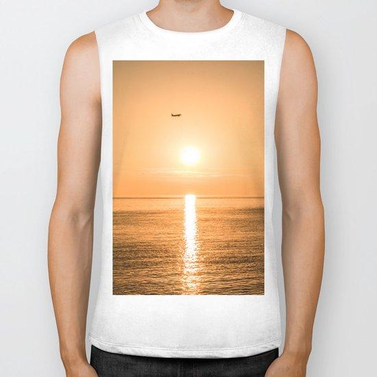 Flight Over The Sea At Sunset Biker Tank