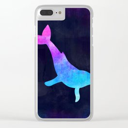 HUMPBACK WHALE IN SPACE // Animal Graphic Art // Watercolor Canvas Painting // Modern Minimal Cute Clear iPhone Case