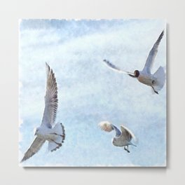 Three Seagulls Watercolor Metal Print