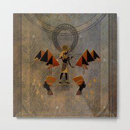 Anubis the egyptian god, pyramid Metal Print
