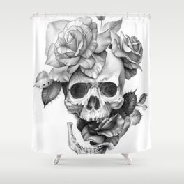 Black and white Skull and Roses Shower Curtain