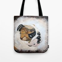 english bulldog Tote Bags featuring English Bulldog by Kristiekoz