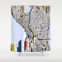 mondrian Shower Curtains featuring Seattle Mondrian by Mondrian Maps