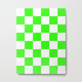 Large Checkered - White and Neon Green Metal Print