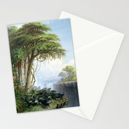 Victoria Falls, Zambia and Zimbabwe with Buffalo by Thomas Baines Stationery Cards