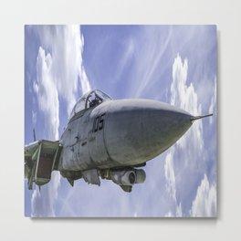 Military Fighter Jet F 14 Tomcat Flight Blue Sky Metal Print
