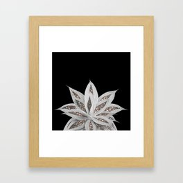 Gray Agave with Silver Glitter #1 #shiny #tropical #decor #art #society6 Framed Art Print